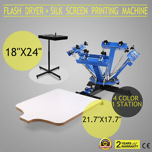 4 Color Screen Printing 1 Station Kit 18 x24 Flash Dryer Control T shirt Curing