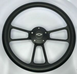 14 Black Billet 5 Hole Steering Wheel Black Half Wrap And Chevy Horn Button