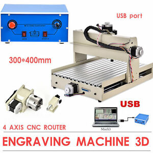 4axis 3040 Usb Cnc Router Engraver 400w T screw Mill Drill Cut Desktop Machine