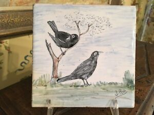 French Hand Painted Tile Signed Birds