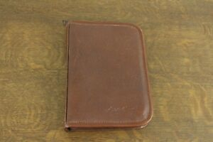 Eddie Bauer Brown Leather Zip Around Executive Agenda Planner Organizer