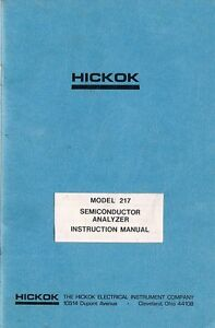 Hickok Model 217 Semiconductor Analyzer Owners Instruction Manual Copy Obsolete