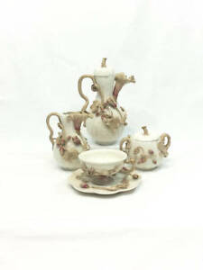 Antique Bone China Tea Set Applique Vines Flowers Organic Shape