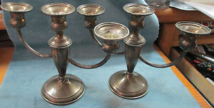 Pair Of Signed Sterling Silver Three 3 Candle Low 6 1 2 High Candelabras