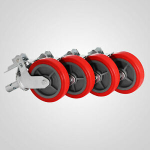 Set Of 4 Casters 8 Polyurethane Scaffolding Caster 3200 Lbs Capacity
