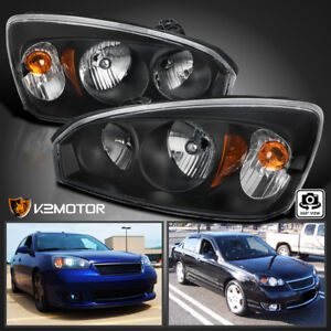 2004 2008 Chevy Malibu Black Sedan Factory Style Headlights Headlamps Left Right