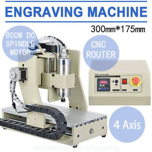 800w 4axis 3020 Cnc Wood Router Engraver Engraving Mill Desktop Machine Mach3