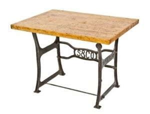 Industrial Table With Cast Iron Saltzman Toggle Press Machine Legs