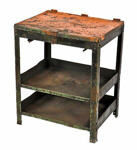 1940 S Industrial A Finkl Sons Foundry Side Table W Hinged Top Compartment