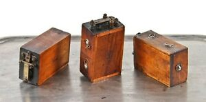 3 Matching C 1920 Ford Automobile Model T Wood Case Ignition Spark Coils