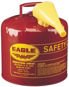 Gasoline Can Safety Red Galvanized Steel Type I Funnel 5 Gal Gas Fuel Capacity