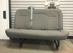 11 18 Chevy Express gmc Savana Van 2nd 3rd Row 3 Passenger Gray Cloth Bench Seat