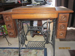 Antique Singer Tiger Oak Fancy 7 Drawer Treadle Sewing Machine Cabinet