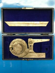 Brown Sharpe 599 496 6 Bevel Protractor W case Vintage