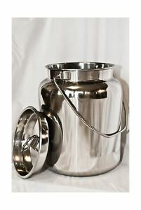 10 Qt Stainless Steel Milk Can Tote Solid Seamless Easy Carry