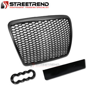For 2008 2011 Audi A6 s6 Rs Honeycomb Mesh Front Hood Bumper Grill Grille Black
