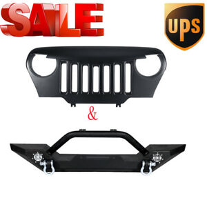 Rock Crawler Front Bumper Guard Plate Front Grille For Jeep Wrangler Tj 1997 06