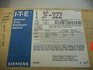 Ite Jf 322 60 Amp 240 Volt 3 Phase Indoor Fusible Disconnect Safety Switch