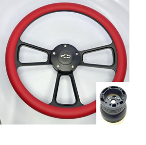 14 Black Billet Steering Wheel Red Half Wrap Chevy Horn Button Adapter A01