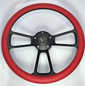 14 Black Billet Steering Wheel Red Half Wrap And Mustang Horn Button