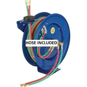 New Dual Hose Spring Rewind Reel For Oxy acetylene 1 4 I d 75 Hose 200 Psi