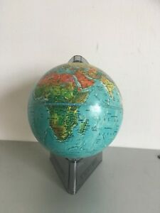 Vintage Scan Globe Denmark Small World Atlas Globe Smoked Lucite Stand
