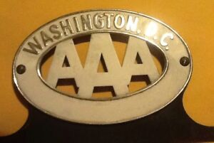Original Vintage Aaa Auto Club Washington D C License Plate Topper 1950 S