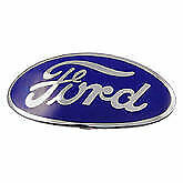 1934 Ford Passenger Car And 1938 Deluxe Porcelain Blue Oval Shell Emblem