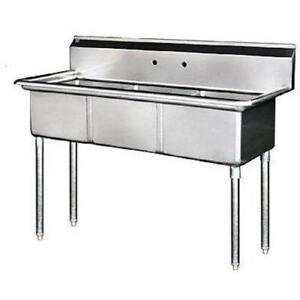 Stainless Steel 3 Compartment Sink 77 5 X 30 With Left Drainboard