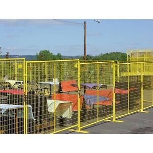 New Perimeter Patrol Welded Wire Yellow Powder Coat Fence 7 6 wx6 h 4 Panel Kit