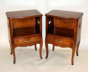 Vintage Pair Nightstands Cabinets French Louis Xv Style Cabriole Legs Hearts
