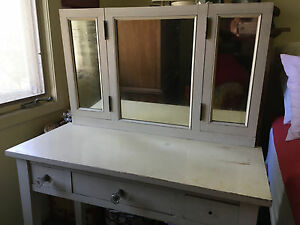 Small Antique Ladies Vanity Dresser With Mirrors Ca 1940s Good Vintage Cond