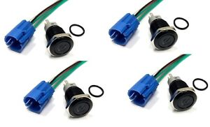 4pc Black 16mm 12v Blue Power Logo Led On off Push Button Switch W Socket Plug
