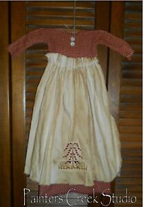 Primitive Wall Decor Dress Red Check W Apron Sheep Willow Tree Grungy