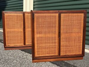 Pair Mid Century Modern Walnut Cabinets W Caned Doors End Tables Nightstands