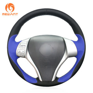 Black Blue Leather Steering Wheel Cover For Nissan Teana Altima X trail Qashqai