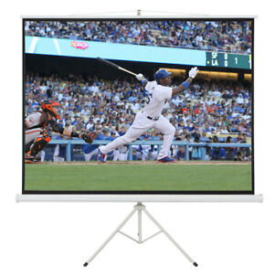New Portable 100 Projector 4 3 Projection Screen Tripod Pull up Matte White
