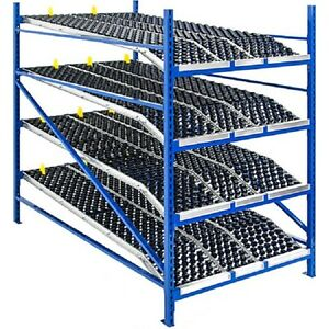 New Unex Gravity Flow Roller Rack With Wheel Bed Starter 96 w X 96 d X 84 h