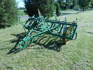 Old Antique Vintage John Deere Field Cultivator On Steel Wheels