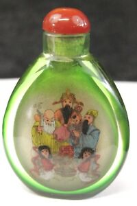 Antique Chinese Reverse Painted Snuff Bottle Royal Family Scenes Emerald Green