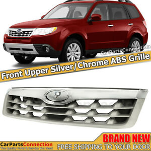 Front Upper Grille Assembly For Subaru Forester 2011 2013 Chrome Silver Grill