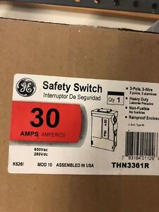 Ge 3 Pole 30 Amp Heavy Duty Non Fused Outdoor Safety Switch thn3361r