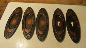 5 Antique Coppertone Japanned Pocket Door Plates
