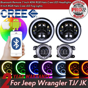 Jeep Wrangler Cree Rgb Halo Led 7in Headlights 4in Fog Lights Bluetooth App Om