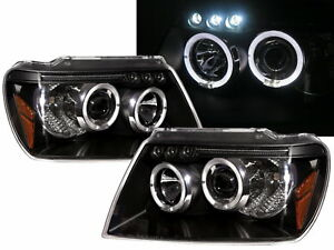 Grand Cherokee Wj Mk2 99 04 5d Angel Eye Projector Headlight Black For Jeep Rhd