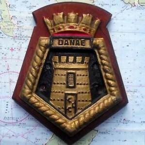 Hms Danae Royal Navy Ship Heavy Metal Tampion Plaque Crest 8 X6 Approx 1 5lb