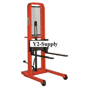 New Hydraulic Stacker Lift Truck 1000 Lb With Adj Forks
