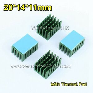 100pcs Aluminum Network Routers Chip 20x14x11mm Heat Sink Green Anodize Radiator
