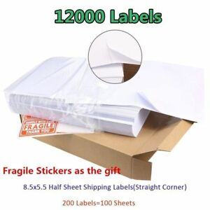 12000 Shipping Mailing Labels 8 5x5 5 Half Sheet Self Adhesive For Ups Fedex