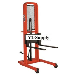 New Hydraulic Stacker Lift Truck M452 1000 Lb With Adj Forks